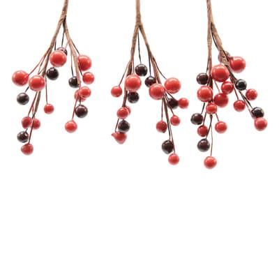Decorazione per albero di natale Set 3 rametti con bacche marroni e rosse H 8 cm,  confezione da 3 pezzi