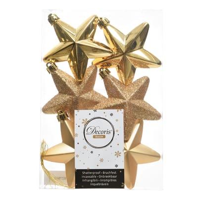 Set 6 stelle in plastica dorate
