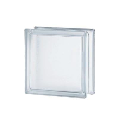 Vetromattone trasparente liscio H 19 x L 19 x Sp 8 cm
