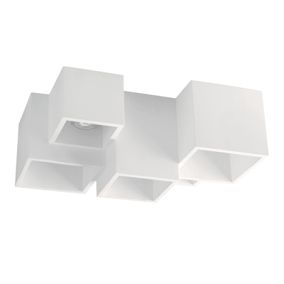 Plafoniera design Foster bianco, in gesso, 5  luci