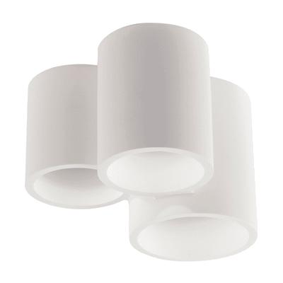 Plafoniera design Banje bianco, in gesso, 3  luci
