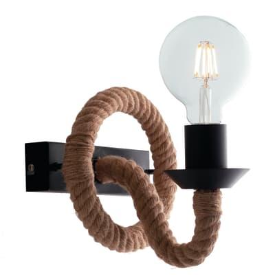 Applique industriale Rope marrone, in metallo,