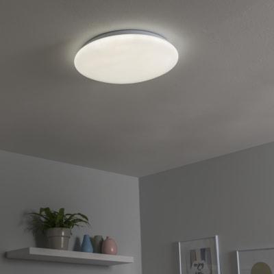 Plafoniera Moon bianco, in plastica, 40x40 cm, diam. 40, LED integrato 24W 2500LM IP21 INSPIRE