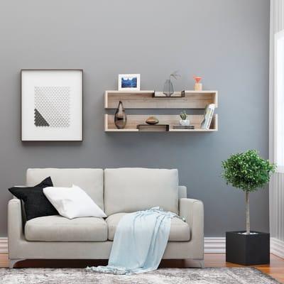 Mensola Bled L 108 x P 18 cm, Sp 20 cm bianco e rovere e nero