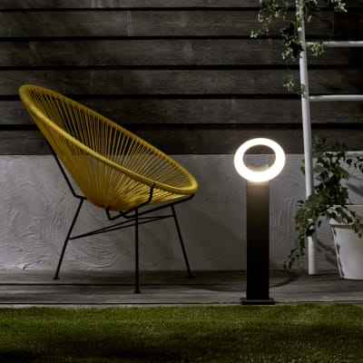 Palo della luce H60cm LED integrato in alluminio argento e grigio 16W IP54 INSPIRE