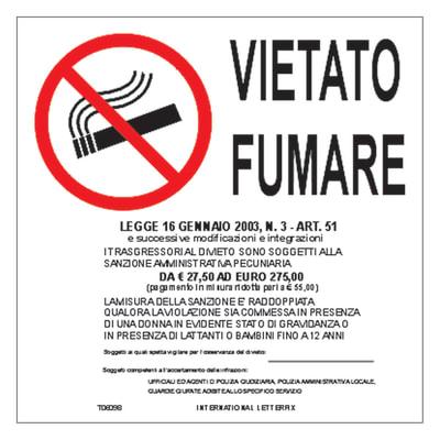 Cartello segnaletico Vietato fumare vinile 17 x 17 cm