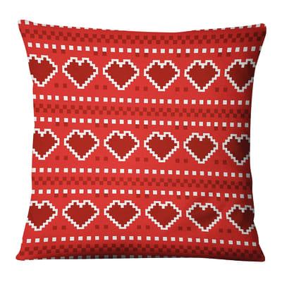 Fodera per cuscino Ricamo Natale Cuore rosso 45x45 cm