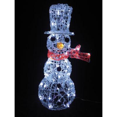 Pupazzo di neve 80 lampadine bianco freddo H 67 cm
