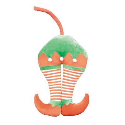 Decorazione per albero di natale Decorazione albero gambe elfo in tessuto verde, rosso e bianco H 60 cm, L 15 cmx P 8 cm,