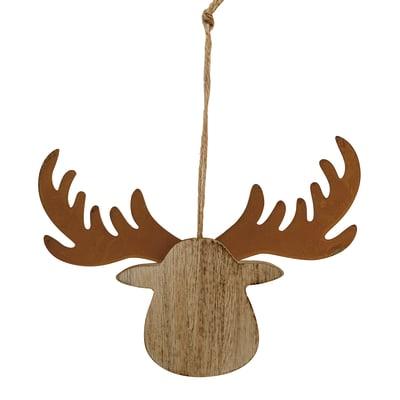 Testa di renna da appendere in metallo e in legno bronzo e color legno , L 11 cm x P 0.9 cm