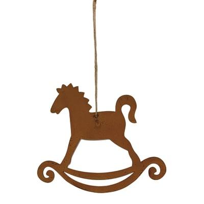Cavallo a dondolo da appendere in metallo bronzo H 19 cm, L 16 cmx P 0.5 cm,