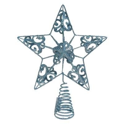 Puntale per albero di natale Stella azzurro scuro, 30 cm in metallo