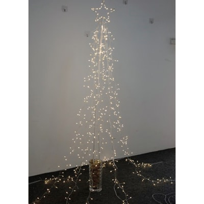 Albero luminoso con stella bianco caldo H 210 cm