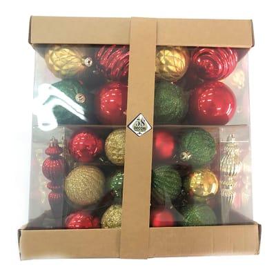 Box misto da 58 pendenti in plastica rosso, oro e verde