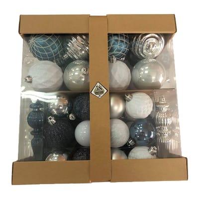 Box misto da 58 pendenti in plastica blu, bianco e argento