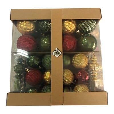 Box misto da 58 pendenti in plastica verde, rosso e bianco confezione da 58 pezzi
