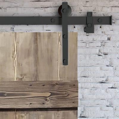 Porta scorrevole con binario esterno barn in legno grezzo for Leroy merlin porta scorrevole