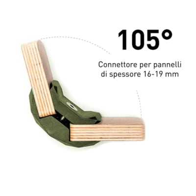Sistema di assemblaggio playwood 105° pvc  4 pezzi , verde