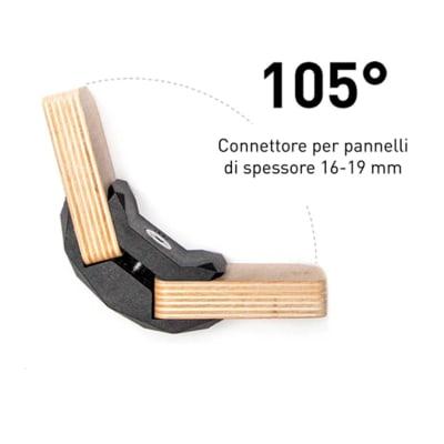 Sistema di assemblaggio playwood 105° pvc  4 pezzi , nero