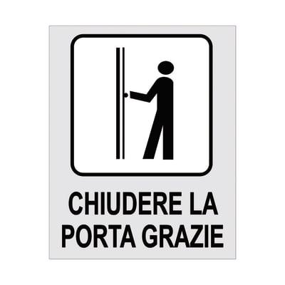 Cartello segnaletico Chiudere la porta grazie polipropilene 8 x 10 cm