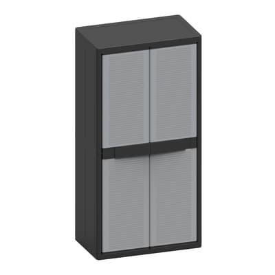 Armadio Jumbo 2900Q L 89.7 x P 53.7 x H 180 cm grigio e nero