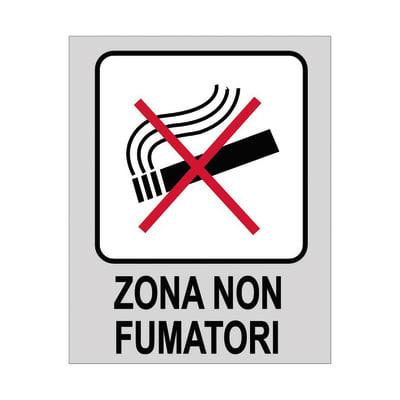 Cartello segnaletico Zona non fumatori polipropilene 8 x 10 cm