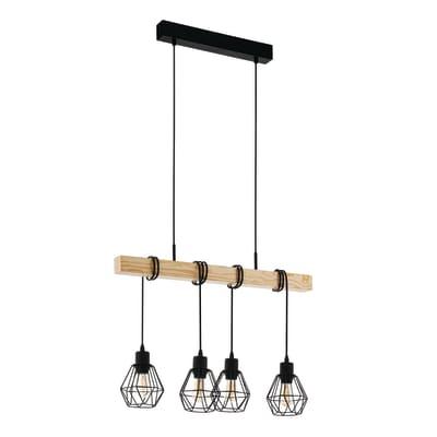Lampadario Industriale Townshend nero, marrone in metallo, L. 110.0 cm, 4 luci, EGLO