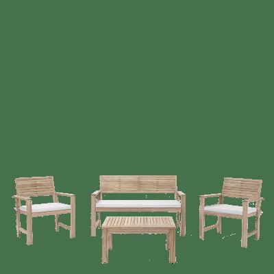 Coffee set in acacia NATERIAL Solis per 4 persone
