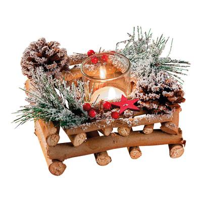Centrotavola Portacandela in legno , L 22 cm  x P 13 cm