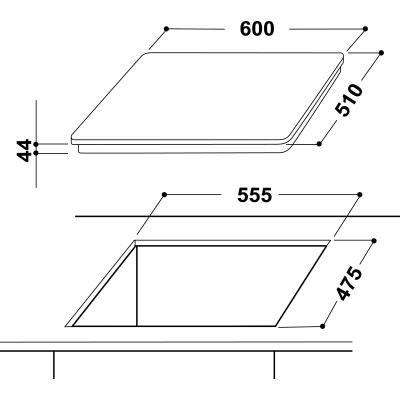 Piastra di cottura a gas 55.5 cm INDESIT PR 642/I (TD)