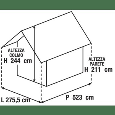 Chiosco in metallo Daikiri 2 ribalte c/mensole 12.7 m² spessore 0.4 mm