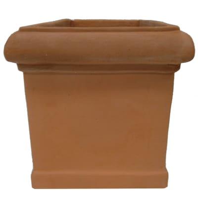 Vaso Cubo liscio in terracotta colore cotto H 32 cm, L 35 x P 35 cm