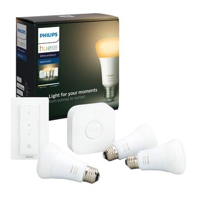 Lampadina smart lighting LED E27, Goccia, Opaco, Variazione dei bianchi, CCT, 9.5W=806LM (equiv 60 W), 150° , PHILIPS HUE , set di 3 pezzi
