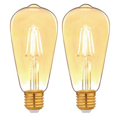Set di 2  lampadine LED filamento, E27, Goccia, Ambra, Luce calda, 3.5W=300LM (equiv 25 W), 360° , LEXMAN