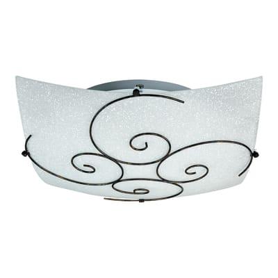 Plafoniera rustico Ricciolo bianco, in vetro, 40x40 cm, 2  luci