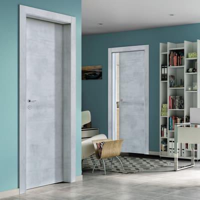 Porta a battente Cemento grigio L 90 x H 210 cm reversibile