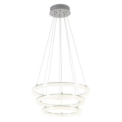 Lampadario Neoclassico Shokia LED integrato bianco, cromo, in metallo, D. 60 cm, L. 120 cm, 3 luci, INSPIRE