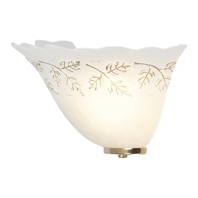 Applique classico Lira bianco e oro, in vetro, 15x30 cm,