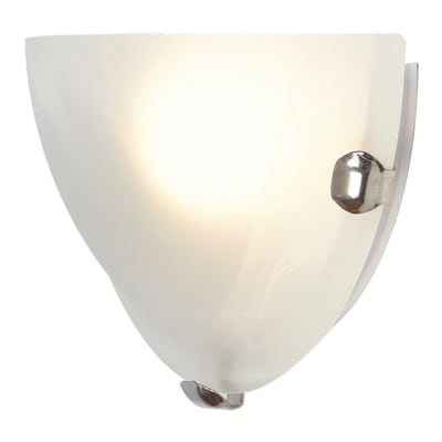 Applique Emma bianco e cromo, in vetro, 10x30 cm, E27 MAX60W IP20 LEXMAN