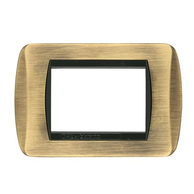 Placca CAL Living International 3 moduli bronzo satinato paco bronzo compatibile con living international