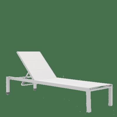 Lettino senza cuscino impilabile NATERIAL Aquila in alluminio grigio chiaro