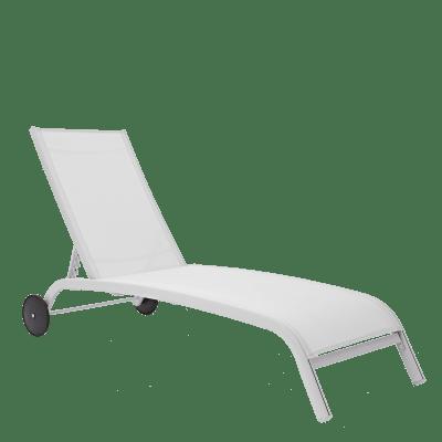 Lettino senza cuscino NATERIAL Lyra in alluminio grigio chiaro