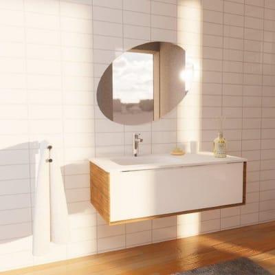 Set mobile da bagno con lavabo Neo bianco L 90 cm
