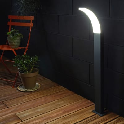 Lampioncino Lakko 56cm H8cm LED integrato in alluminio antracite 99W 1200LM IP44 INSPIRE