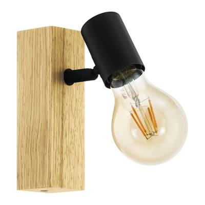 Faretto a muro Townshend nero, in legno, E27 10W IP20 EGLO