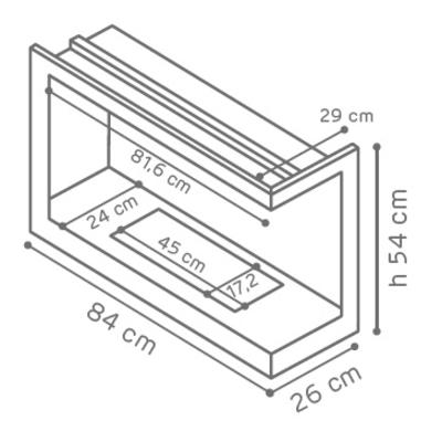 Caminetto a bioetanolo per pavimento inserto con apertura a  sinistra 3.5 L nero