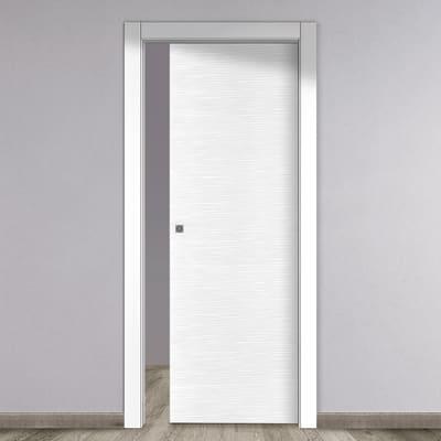 Porta scorrevole a scomparsa Louvre bianco L 80 x H 210 cm reversibile