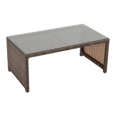 Tavolino da giardino rettangolare Manila con piano in vetro L 59 x P 115 cm