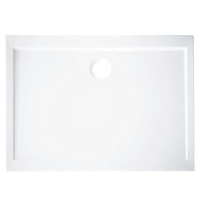 Piatto doccia acrilico rinforzato fibra di vetro Essential 80 x 100 cm bianco