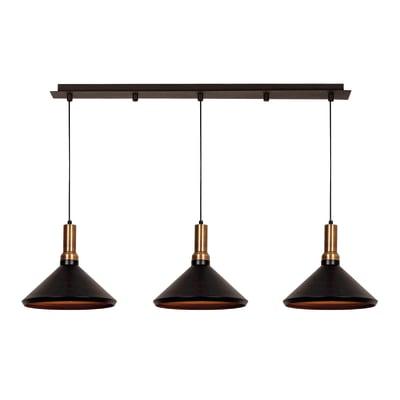 Lampadario Design Multi rame, nero in metallo, L. 135 cm, 3 luci